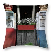 Antique Gas Pumps Throw Pillow
