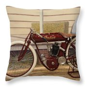 Antique Indian Motorcycle Red...   # Throw Pillow