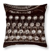 Antique Keyboard - Sepia Throw Pillow