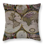 Antique Map Exotic Colorful Throw Pillow