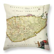 Antique Map Of Ceylon Throw Pillow by Nicolas Visscher