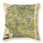 Antique Map Of Indianapolis By The Parry Mfg Company - Historical Map Throw Pillow