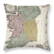 Antique Map Of Ireland Showing The Provinces Throw Pillow by Johann Baptist Homann