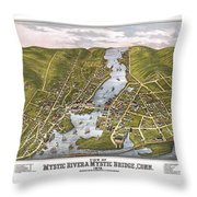 Antique Map Of Mystic Connecticut Throw Pillow