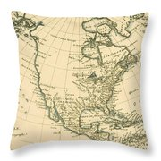 Antique Map Of North America Throw Pillow
