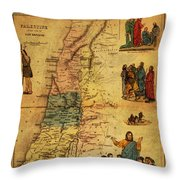 Antique Map Of Palestine 1856 On Worn Parchment Throw Pillow