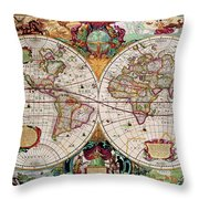 Antique Map Of The World - Double Hemisphere Throw Pillow
