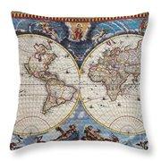 Antique Maps Of The World Joan Blaeu C 1662 Throw Pillow