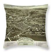 Antique Maps - Old Cartographic Maps - Antique Bird's Eye Map Of Sandwich, Massachusetts, 1884 Throw Pillow