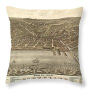 Antique Maps - Old Cartographic Maps - Antique Birds Eye View Map Of Cleveland, Ohio, 1877 Throw Pillow