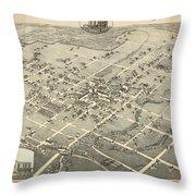 Antique Maps - Old Cartographic Maps - Antique Birds Eye View Map Of Denton, Texas, 1883 Throw Pillow