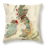 Antique Maps - Old Cartographic Maps - Antique Geological Map Of The British Islands Throw Pillow