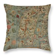 Antique Maps - Old Cartographic Maps - Antique Map Of Scandinavia In Latin, 1539 Throw Pillow