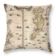Antique Maps - Old Cartographic Maps - Antique Map Of Schetland And Orkney Islands - Scotland,1654 Throw Pillow