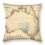 Antique Maps - Old Cartographic Maps - Antique Map Of Australia Throw Pillow