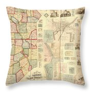 Antique Maps - Old Cartographic Maps - Antique Map Of Lawrence And Beaver Counties, 1860 Throw Pillow