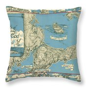 Antique Maps - Old Cartographic Maps - Antique Map Of Cape Cod, Massachusetts, 1945 Throw Pillow
