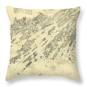 Antique Maps - Old Cartographic Maps - Antique Map Of Casco Bay, Maine, 1870 Throw Pillow