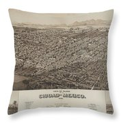 Antique Maps - Old Cartographic Maps - Antique Map Of Ciudad, Mexico, 1890 Throw Pillow