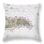 Antique Maps - Old Cartographic Maps - Antique Map Of Hispaniola - Caribbean Island Throw Pillow