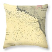 Antique Maps - Old Cartographic Maps - Antique Map Of Lompoc Landing, California, 1888 Throw Pillow