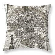 Antique Maps - Old Cartographic Maps - Antique Map Of Paris, France, 1643 Throw Pillow