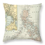 Antique Maps - Old Cartographic Maps - Antique Map Of Philippine Islands And Manila Bay, 1898 Throw Pillow