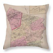 Antique Maps - Old Cartographic Maps - Antique Map Of Sudbury, Canada, 1875 Throw Pillow