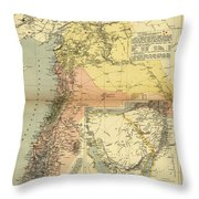 Antique Maps - Old Cartographic Maps - Antique Map Of Syria, 1884 Throw Pillow