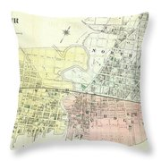 Antique Maps - Old Cartographic Maps - Antique Map Of The City Of Chester, England, 1870 Throw Pillow