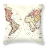 Antique Maps - Old Cartographic Maps - Antique Map Of The Eastern And Western Hemisphere, 1850 Throw Pillow