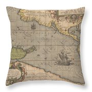 Antique Maps - Old Cartographic Maps - Antique Map Of The Pacific Ocean - Mar Del Zur, 1589 Throw Pillow