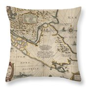 Antique Maps - Old Cartographic Maps - Antique Map Of The Strait Of Magellan, South America, 1635 Throw Pillow