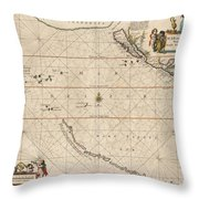 Antique Maps - Old Cartographic Maps - Antique Map Of The Strait Of Magellan, South America, 1650 Throw Pillow