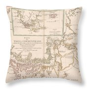 Antique Maps - Old Cartographic Maps - Antique Map Of The Strait Of Magellan, South America, 1787 Throw Pillow