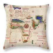 Antique Maps - Old Cartographic Maps - Antique Map Of The World, 1502 Throw Pillow