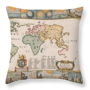 Antique Maps - Old Cartographic Maps - Antique Map Of The World Throw Pillow