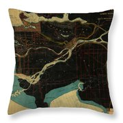 Antique Maps - Old Cartographic Maps - Antique Map Of Vancouver, New Westminster, Steveston Throw Pillow
