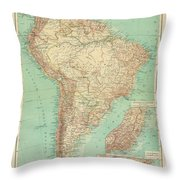 Antique Maps - Old Cartographic Maps - Antique Russian Map Of South America Throw Pillow