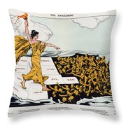 Antique Map Of The United States Of America - The Spirit Of Liberty - The Awakening, 1915 Throw Pillow