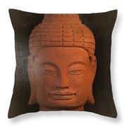 antique oil effect Buddha Khmer Throw Pillow