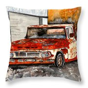 Antique Old Truck Painting Throw Pillow