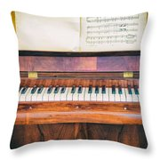 Antique Piano And Music Sheet Throw Pillow