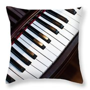 Antique Piano Keys From Above With Hardwood Floor Throw Pillow