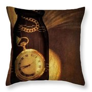 Antique Pocket Watch In A Bottle Throw Pillow