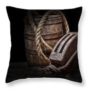 Antique Pulley And Barrel Throw Pillow by Tom Mc Nemar
