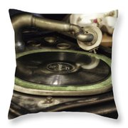 Antique Record Player 01 Throw Pillow