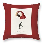 Antique Scarlet Macaw Illustration Throw Pillow