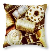 Antique Sewing Artwork Throw Pillow