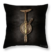 Antique Shoulder Drill Backside On Black Throw Pillow